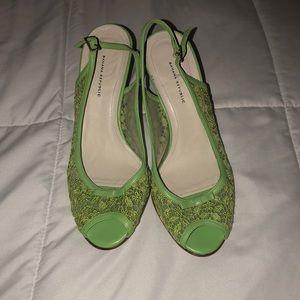 banana republic lime green lace peep toe heels